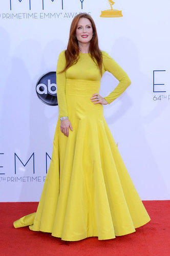 Julianne Moore hit the red carpet in a yellow Dior gown.