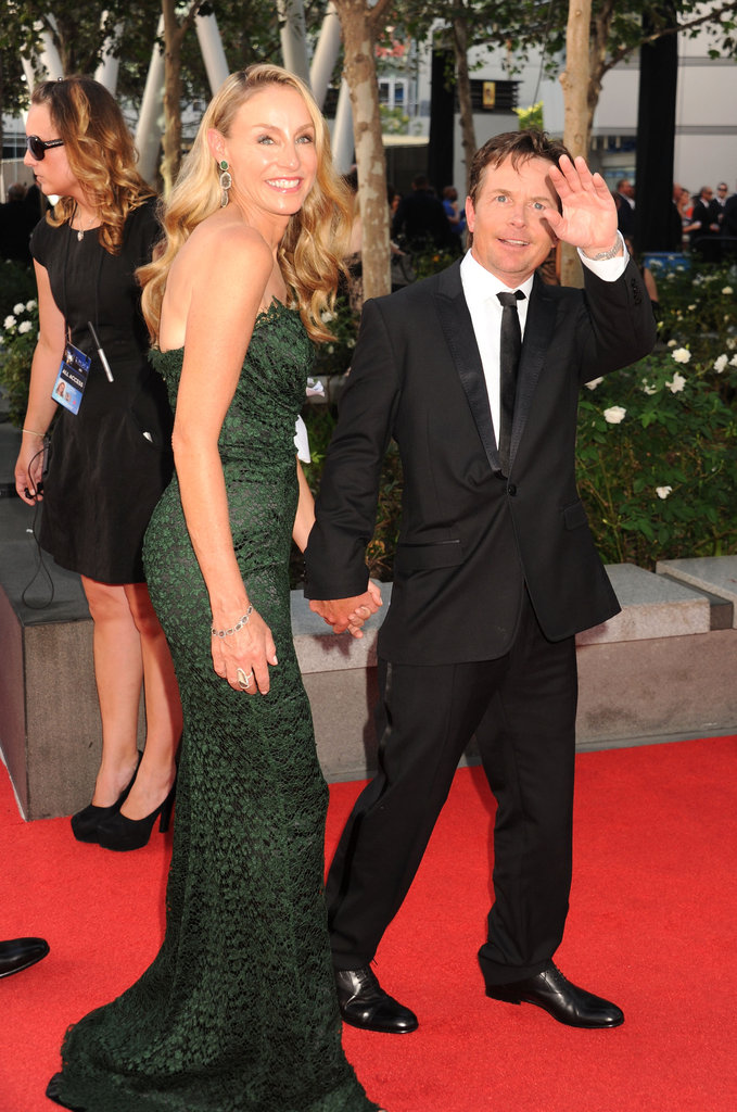 Michael J. Fox and Tracy Pollan walked the carpet holding hands.