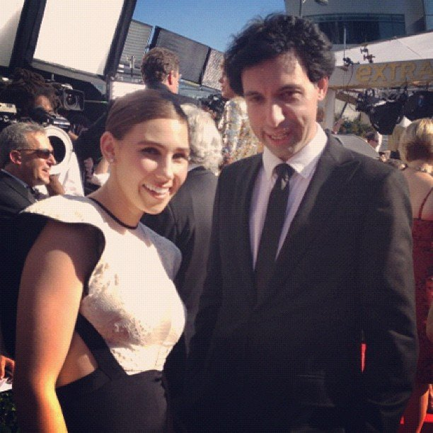 Girls star Zosia Mamet and Alex Karpovsky looked excited to be on the red carpet.  Source: Instagram user girlshbo