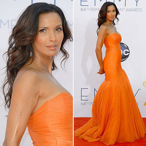 Pictures of Padma Lakshmi in Orange Monique Lhuillier at the 2012 Emmy Awards