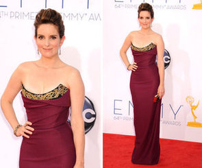 Pictures of Tina Fey in Burgundy Vivenne Westwood dress on the red carpet at the 2012 Emmy Awards