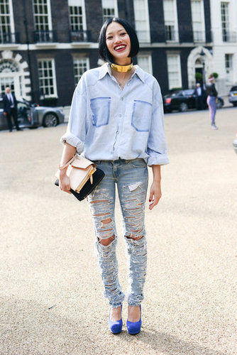 Denim on denim never looked more rocker-chic.