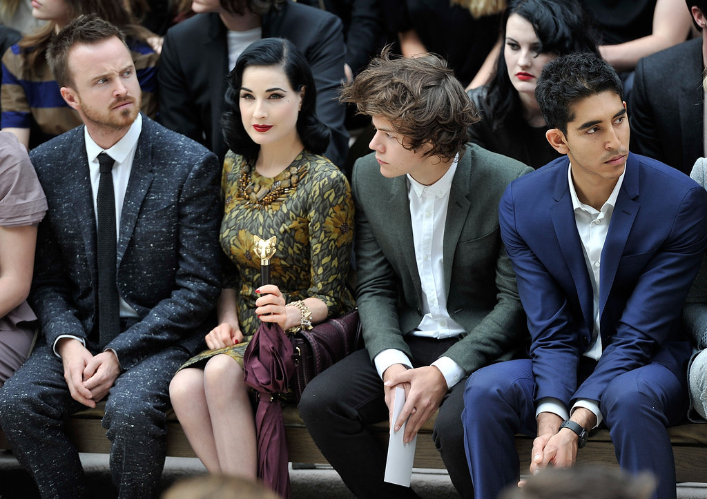 Aaron Paul, Dita Von Teese, Harry Styles, and Dev Patel were front row at Burberry.