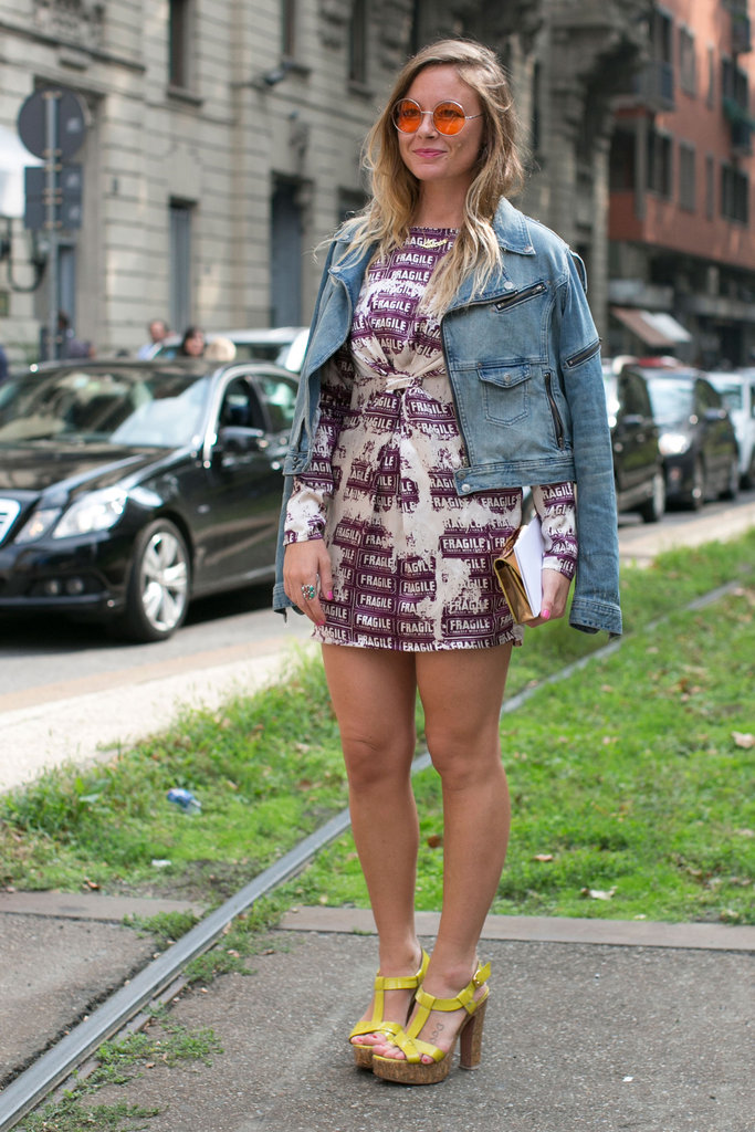 A leather jacket gave some edge to a whimsical print and bright heels.