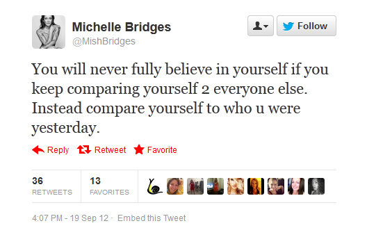 Michelle Bridges offers up a nugget of wisdom.