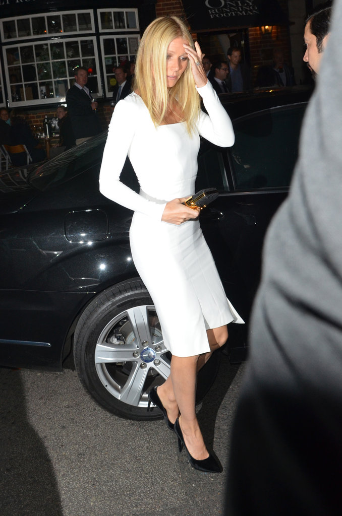 So simple, so sexy, so chic . . . Oh, to look like Gwyneth Paltrow in a tight, white Tom Ford sheath! TF shoes and bag, too. Naturally.