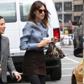 Alexa Chung Wearing Brown Suede Skirt and Blue Top