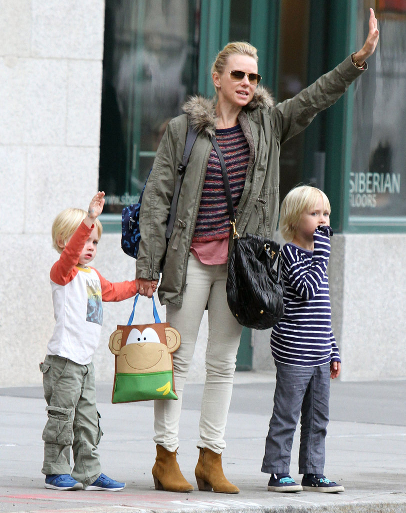Naomi Watts and her boys were spotted in NYC.