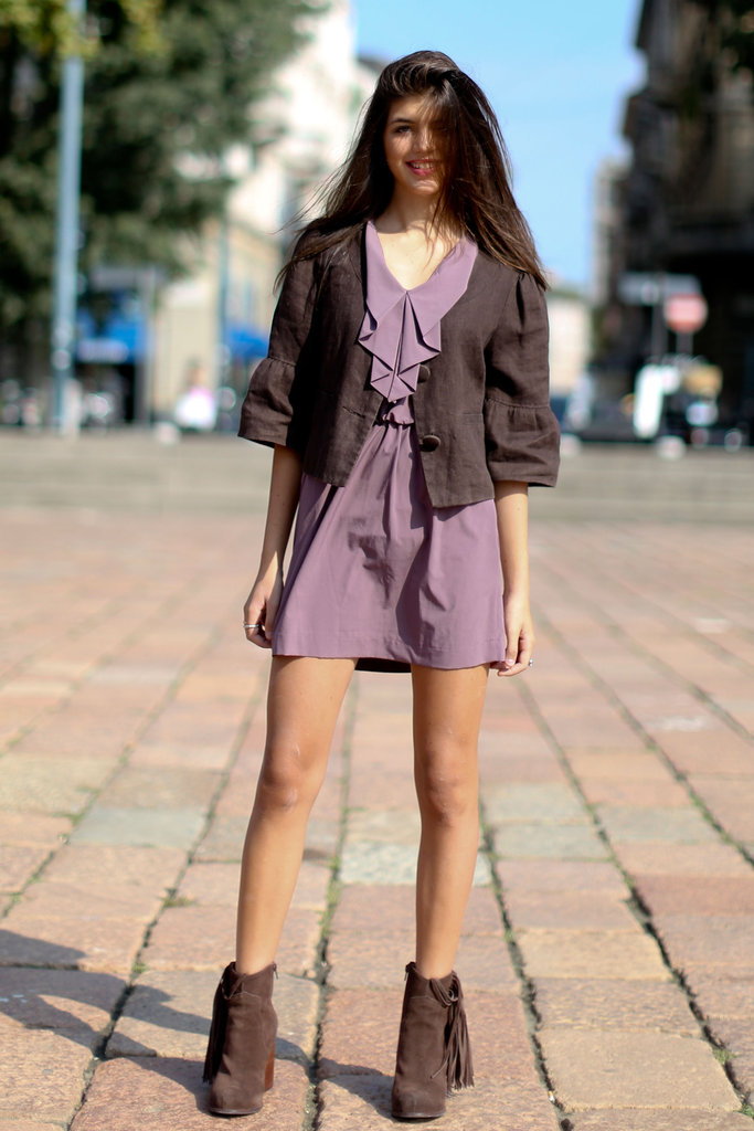 Neutrals gave this little purple dress a touch of Fall.