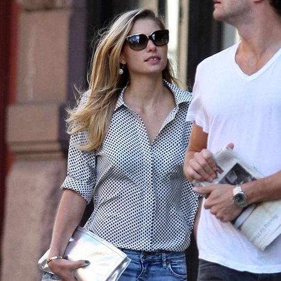 Jessica Hart Wearing Polka Dot Blouse
