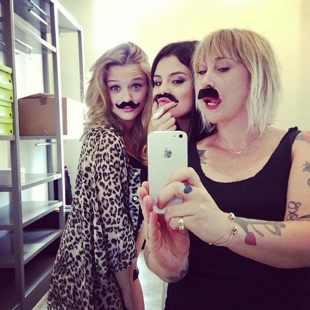 Selena Gomez took silly moustache photos with her friends. Source: Instagram user justinbieber