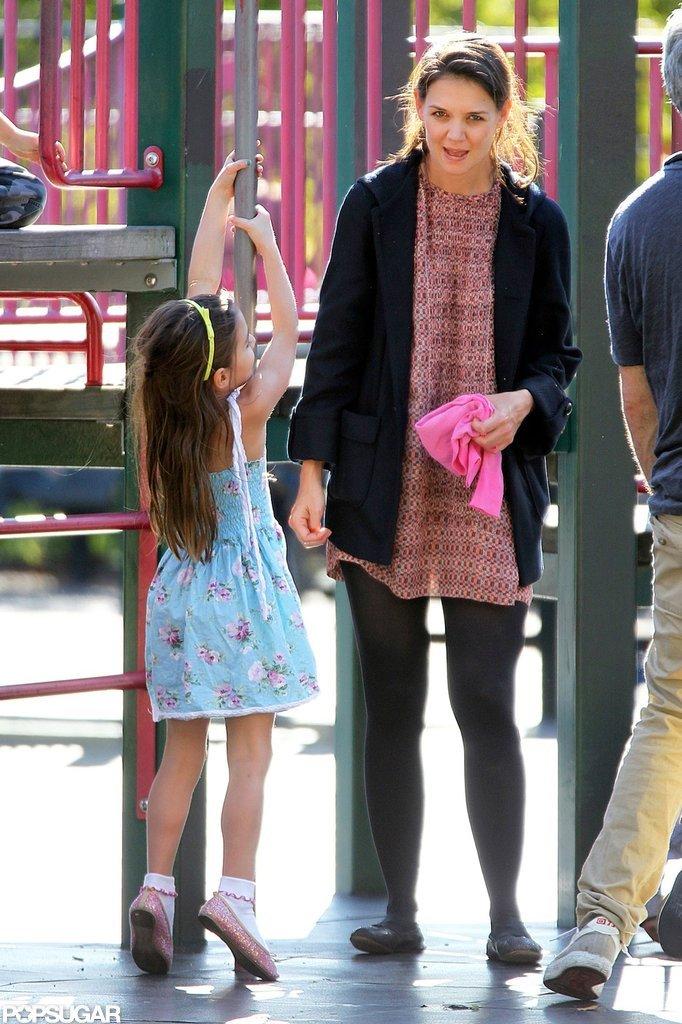 Katie Holmes played around with Suri at the playground.