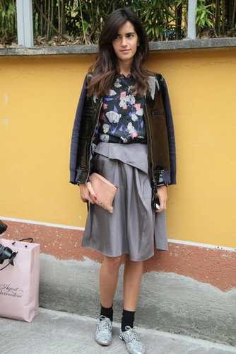 In a surprise move, this styler added socks and oxfords to her ladylike look. Source: Greg Kessler
