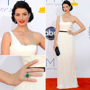 Pictures of Mad Men star Jessica Pare in Custom Jason Wu white dress on the the red carpet at the 2012 Emmy Awards