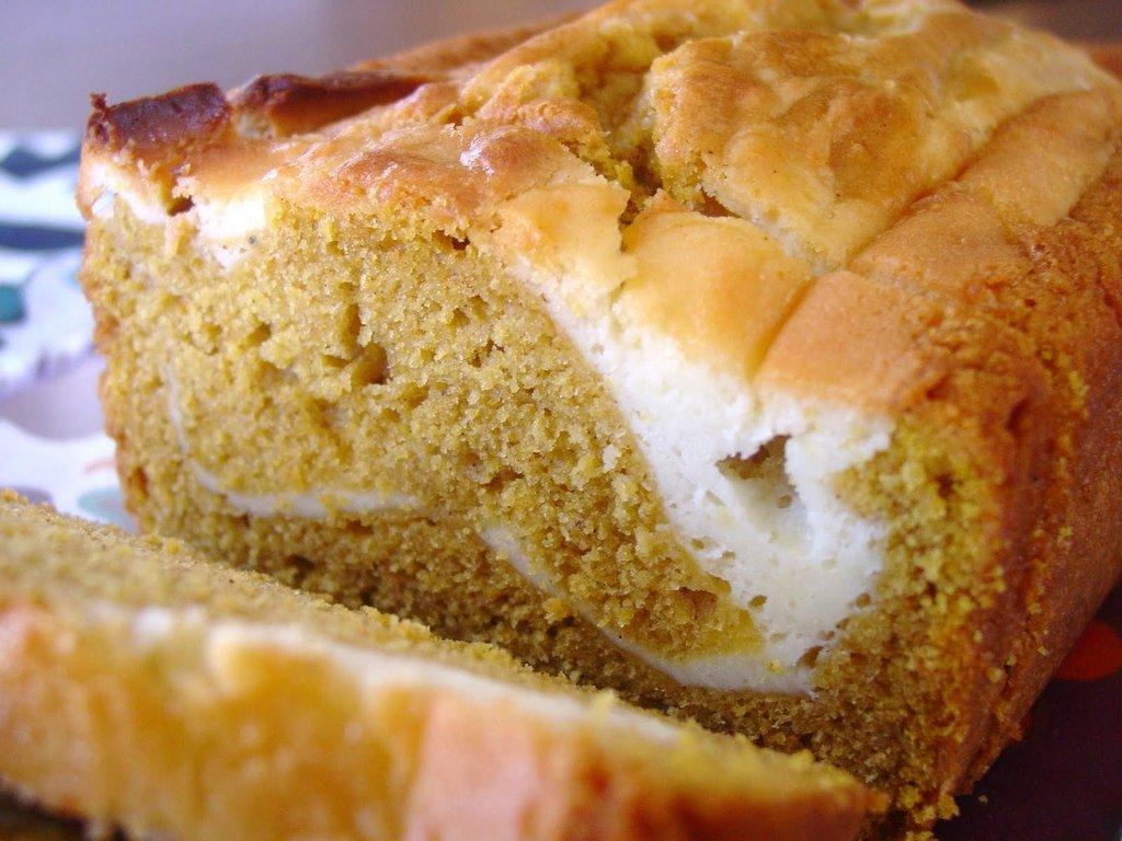 Cream Cheese Rippled Pumpkin Bread