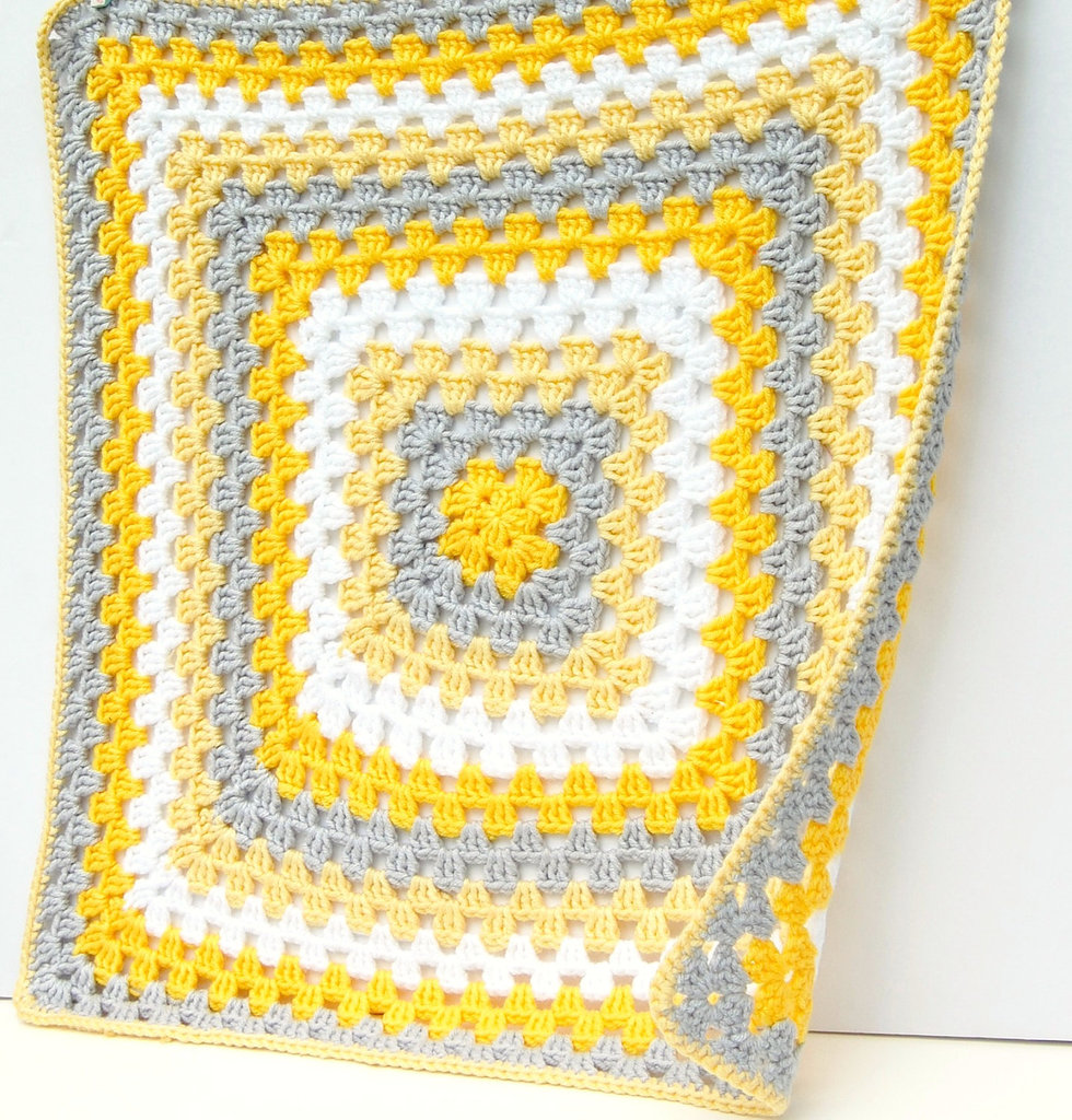 Yellow and Gray Crochet Baby Blanket So Cozy: Hand-Knit Unisex Baby ...