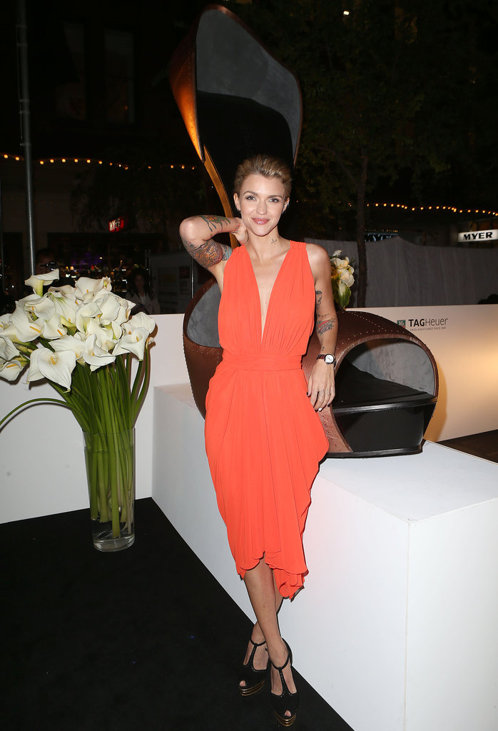 Ruby Rose's tangerine dress was a very glamorous departure from her usual edgier attire, and we like it!
