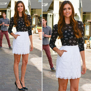 Nina Dobrev Wearing Floral Top and White Skirt 2012