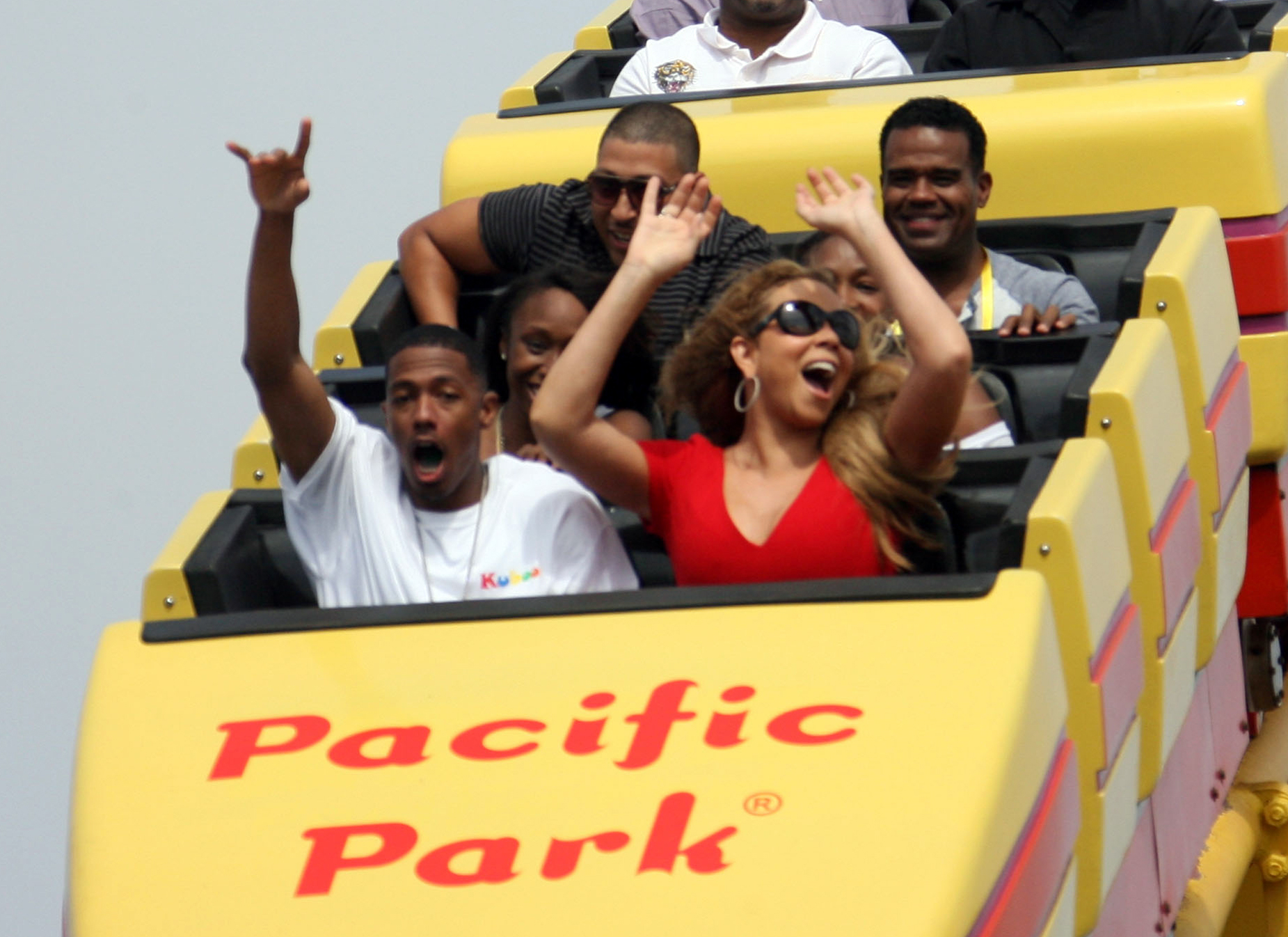 Nick Cannon and Mariah Carey spent rode a roller coaster at the Santa Monica Pier.