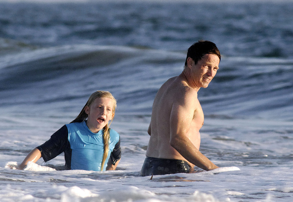 Stephen Moyer and Lilac Moyer spent the day in the water.