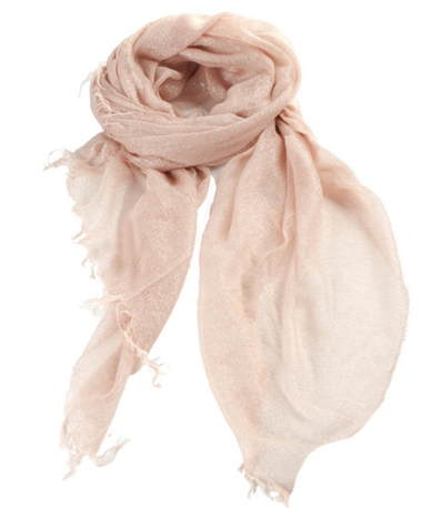 The perfect shade of blush pink, 50 percent of the proceeds from this Spun Pink Sparkle Scarf ($56) will go to The Breast Cancer Charities of America.