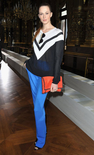Elettra Wiedemann dressed the part of loyal Stella McCartney fan at the designer's show, wearing a spot-on mix of chic separates with a sporty twist.