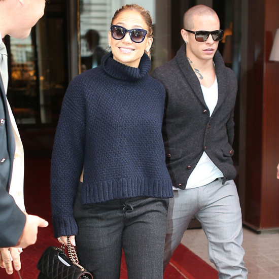 Jennifer Lopez Wearing Navy Turtleneck