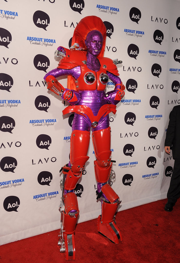 Heidi Klum topped herself with an ultratall robot costume at her 2010 costume party in NYC.