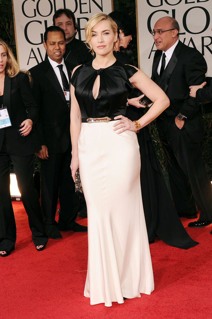 Kate Winslet wowed on the red carpet in a chic black and white dress that hugged her curves at the January Golden Globe Awards held in LA.