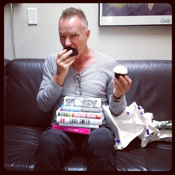 Sting celebrated his birthday with books and cupcakes. Source: Instagram user rollingstone