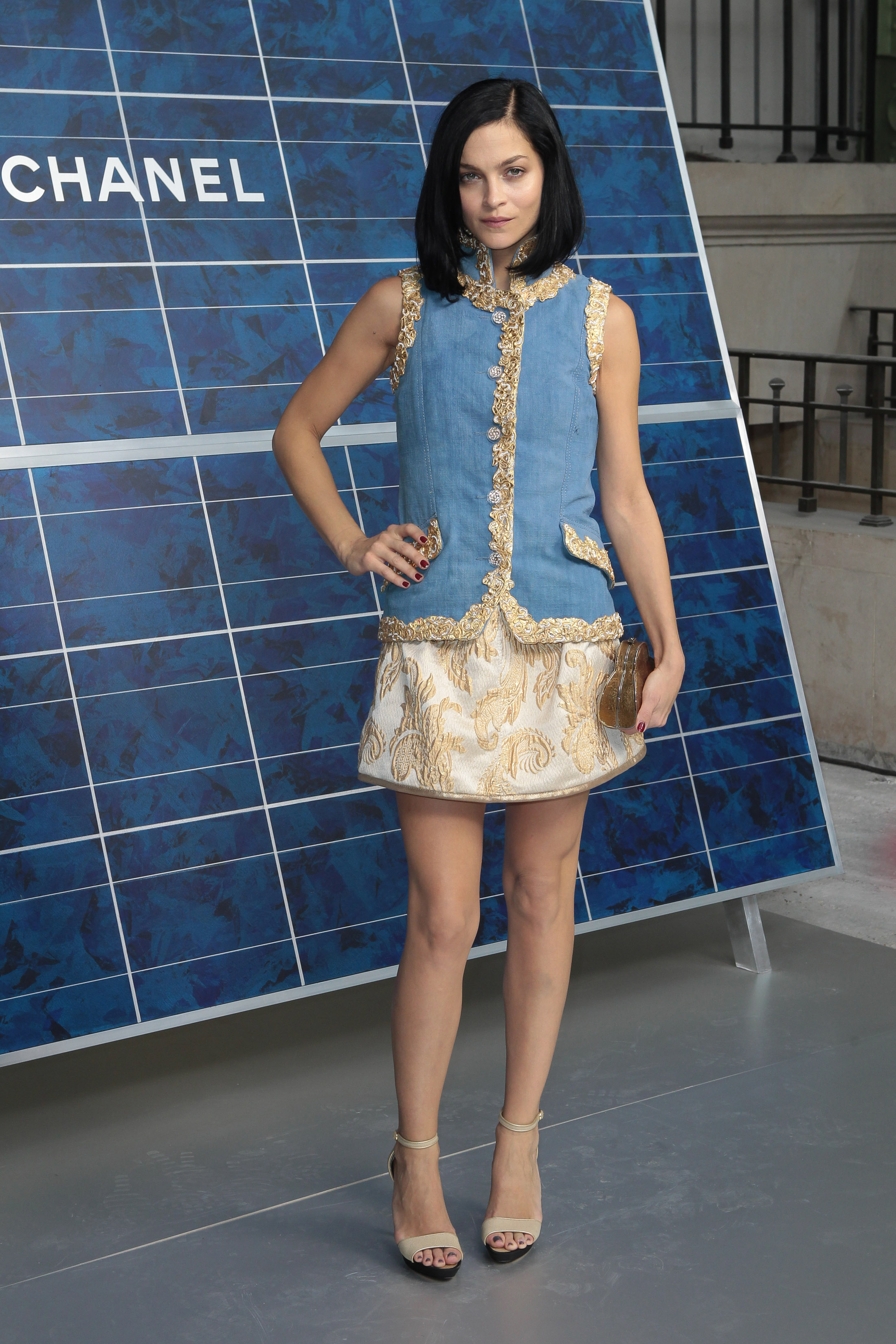 Leigh Lezark went for short and sweet in a blue and gold Chanel number for the label's show.
