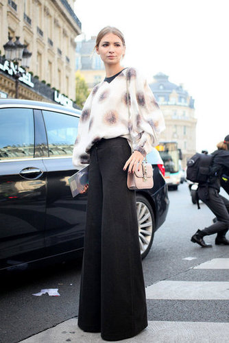 We love the way this floaty, ethereal-feeling blouse balances wide-leg pants.