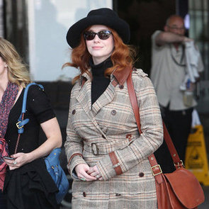 Christina Hendricks Pictures at Sydney Airport Arriving For Specsavers Spectacle Wearer of the Year Event