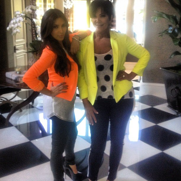Kim Kardashian and Kris Jenner coordinated in neon blazers. Source: Instagram user kimkardashian