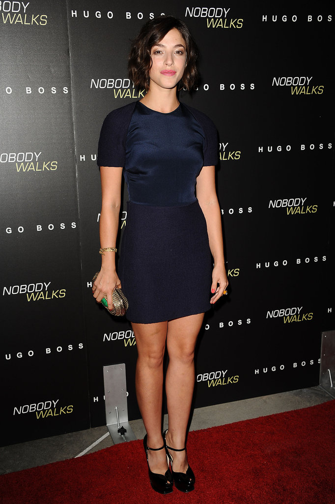 Olivia Thirlby stepped out in a navy dress.
