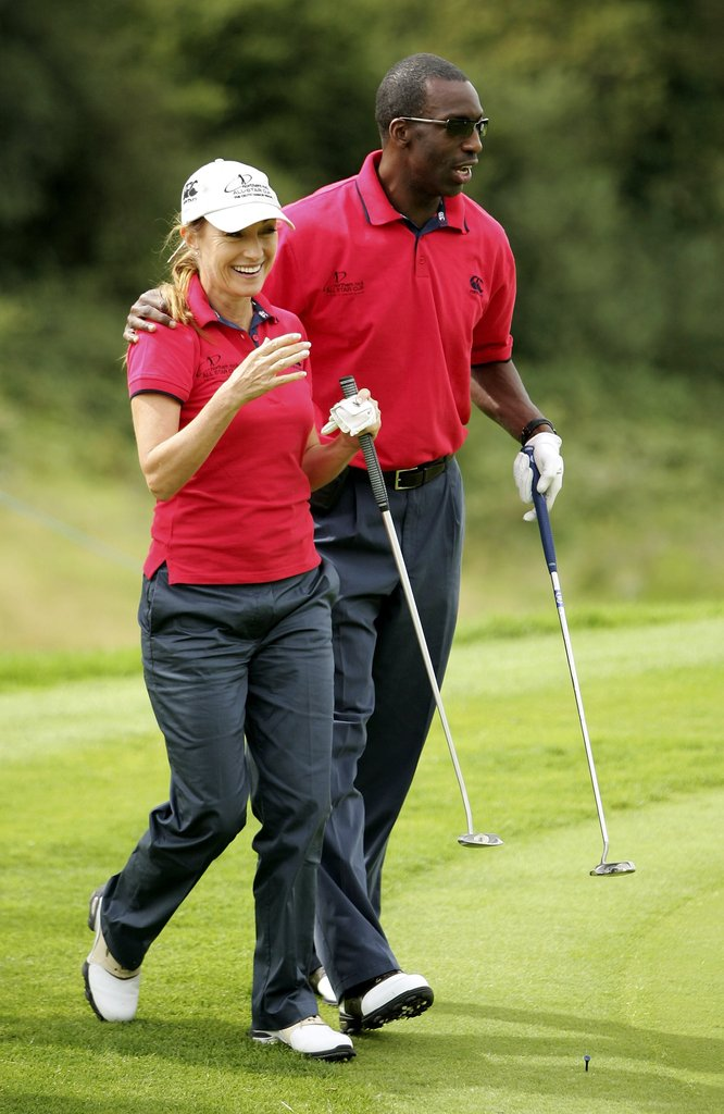 Jane Seymour and Michael Johnson teamed up in August 2006 for a round at the Celtic Manor Resort in Wales.