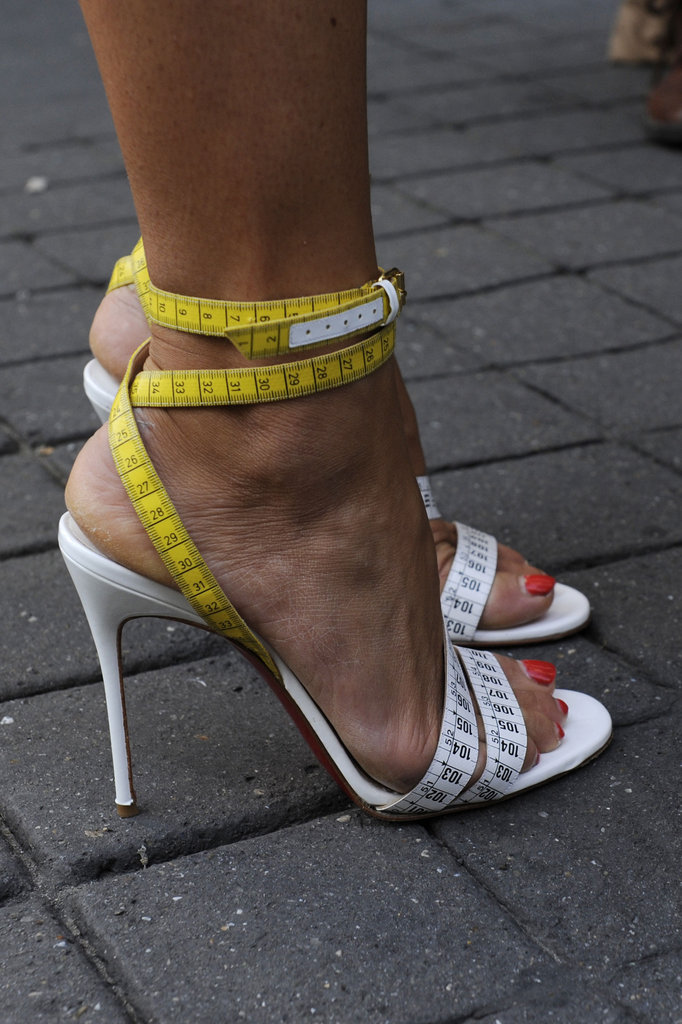 Strappy colorblocked heels were both sexy and cool.