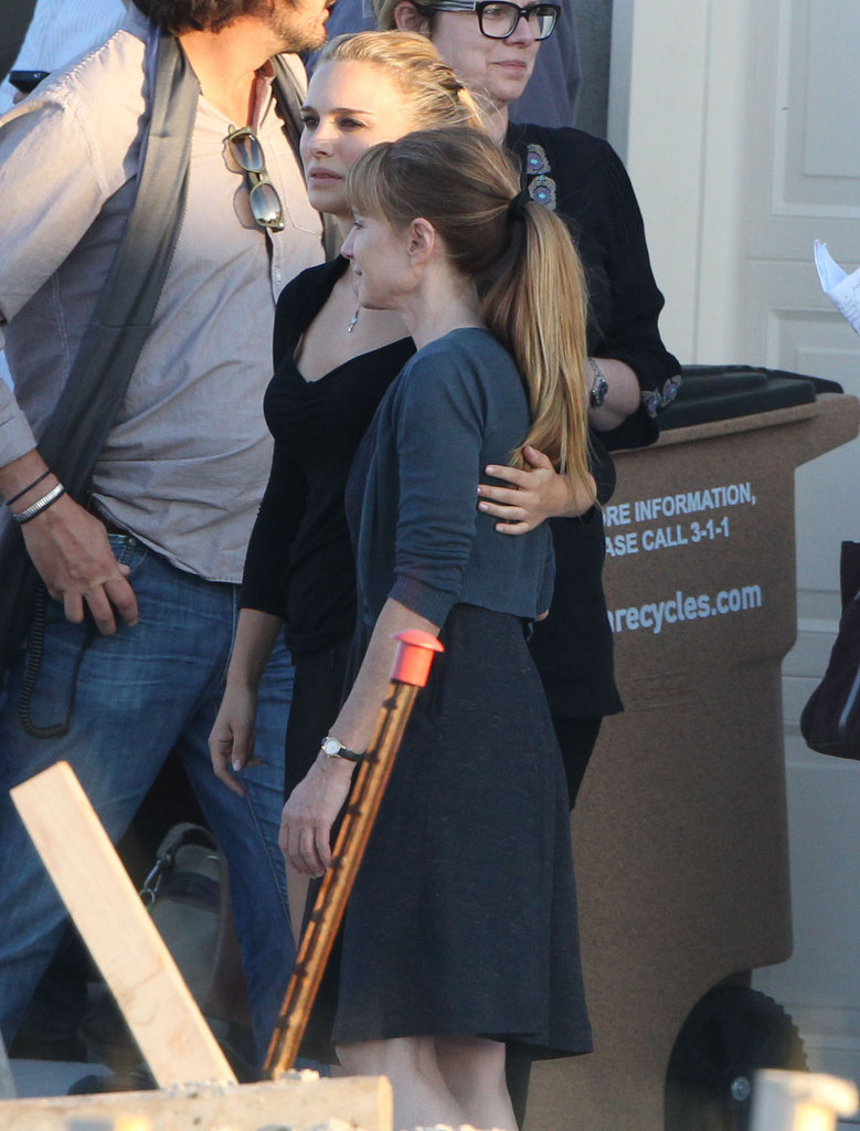 Natalie Portman showed off her blond locks on set with Holly Hunter in Austin.
