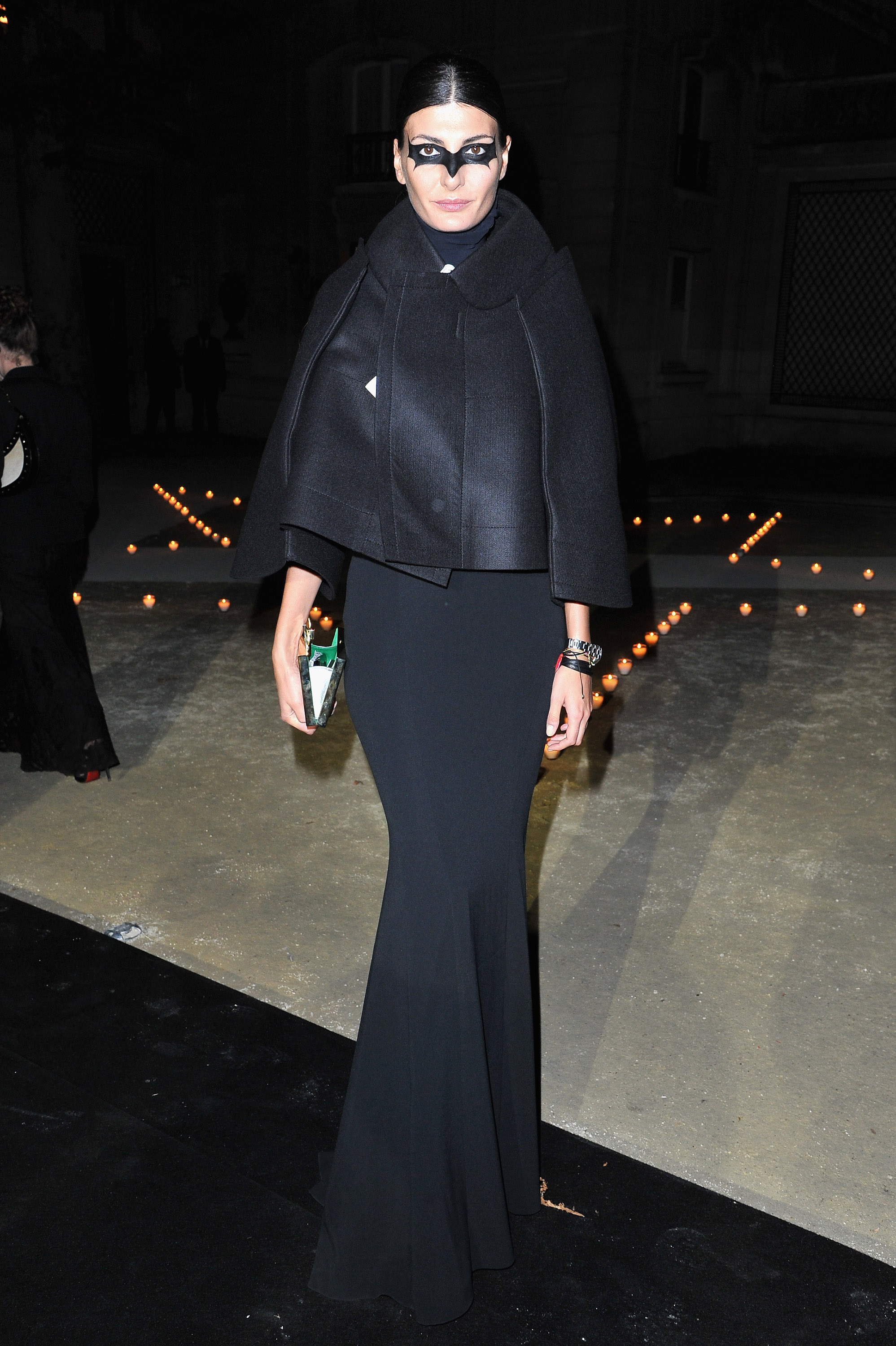 Giovanna Battaglia caught masquerading as a beautiful creature of the night at Carine Roitfeld's MAC party.