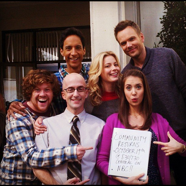 The cast of Community shared a photo reminder of their season premiere. Source: Instagram user gillianjacobs