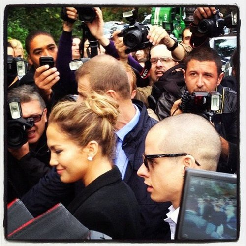 Jennifer Lopez and Casper Smart's arrival at Chanel caused quite the commotion.