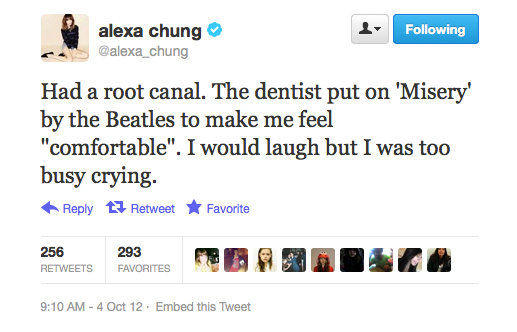 Even Alexa Chung has to go to the dentist.