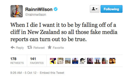 Rainn Wilson makes light of all those pesky death rumours.