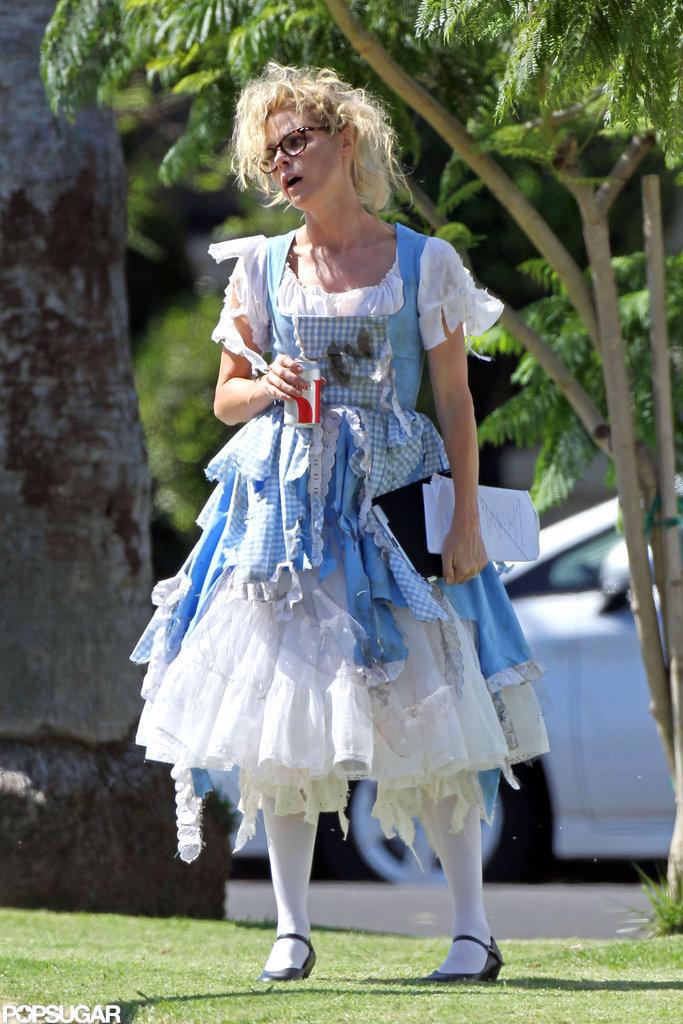 Julie Bowen got a head start on Halloween fun in a costume on the set of Modern Family in LA.