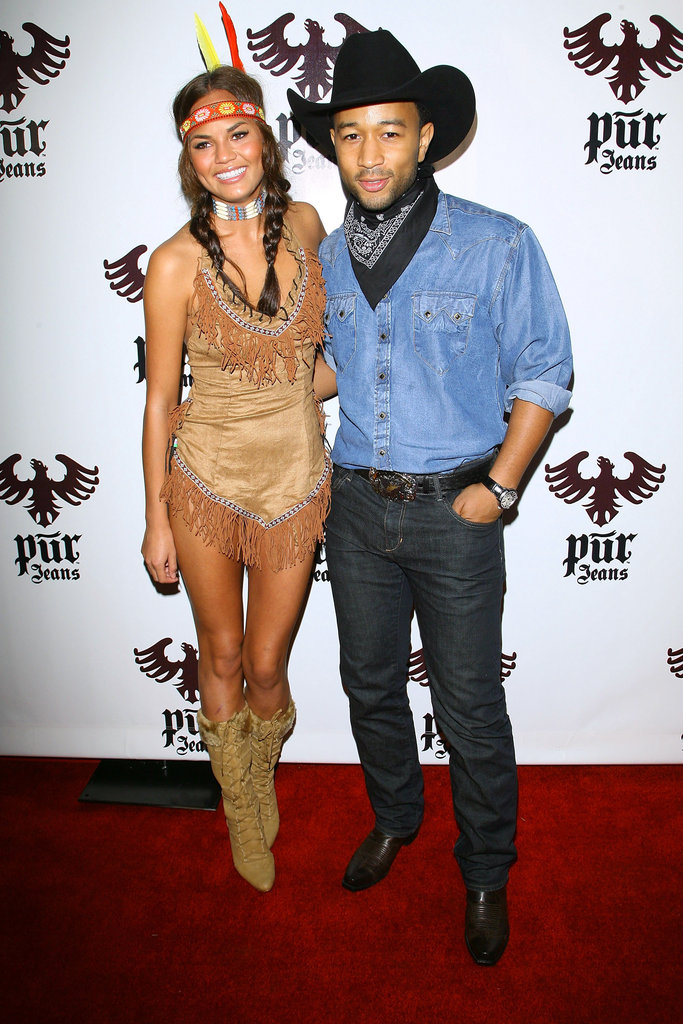 Chrissy Teigen played the part of Pocahontas while attending a Halloween bash with John Legend in 2008.