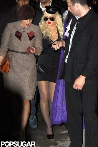 Christina Aguilera made an arresting sight as she left a Halloween party dressed as a cop in 2010.