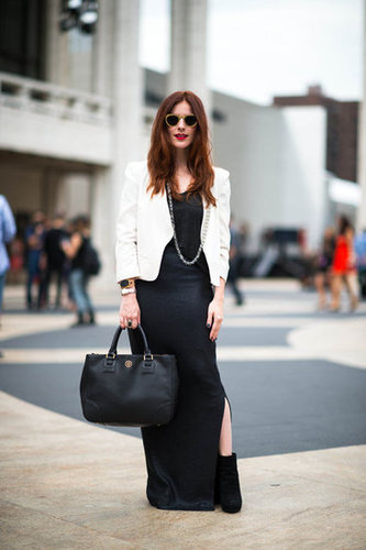 Play with a chic black-and-white palette with an unexpected approach. Add a white blazer to top off a black maxi and tough-girl booties. Source: Adam Katz Sinding