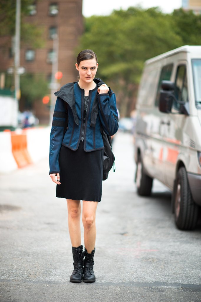 A futuristic topper gives new life to a basic pencil skirt. Update yours with a sporty-girl parka and a pair of edgier lace-up boots. Source: Adam Katz Sinding