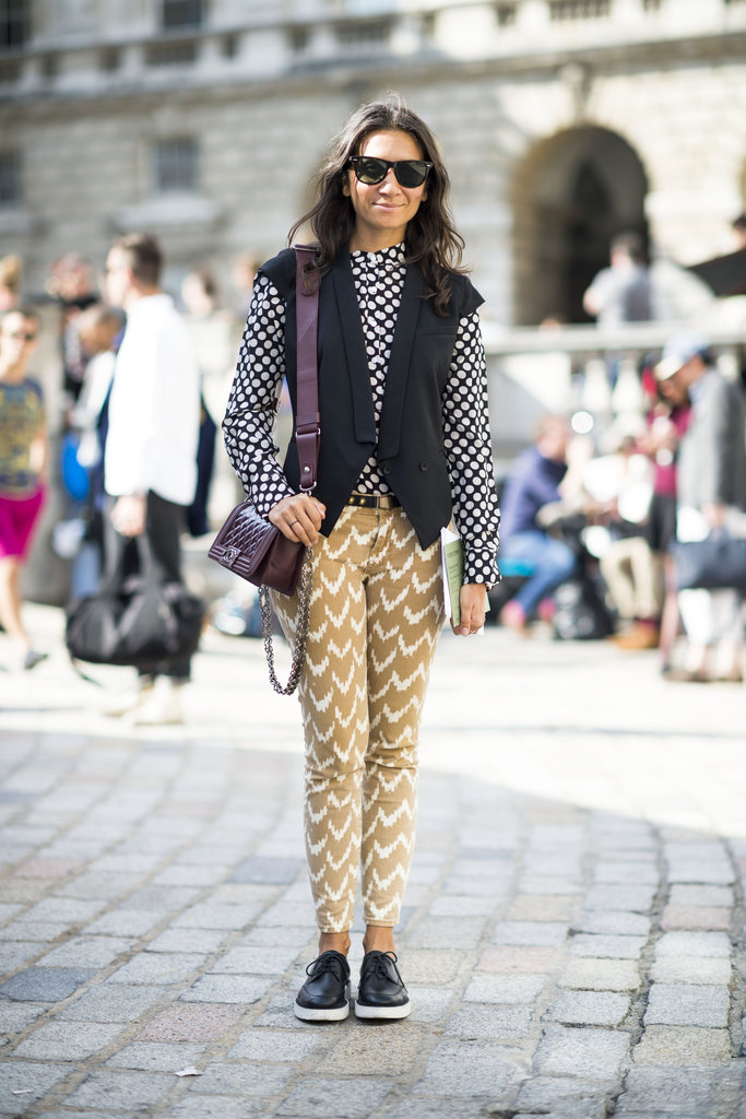 Give your long-sleeved top and trousers extra oomph in bold prints. Again, it's all about a little oxblood bag to drive the Fall theme home. Source: Adam Katz Sinding
