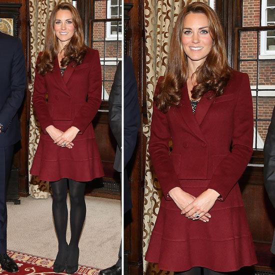 Kate Middleton in Maroon Skirt Suit 2012